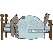 Clipart Illustration of a Dog Snoozing Under A Blanket On A Bed © Dennis Cox #34038