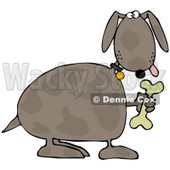 Clipart Illustration of a Goofy Brown Spotted Dog Holding Up A Bone © Dennis Cox #34041