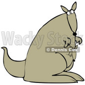 Clipart Illustration of a Cute Joey Kangaroo Peeking Out Of Its Mother's Pouch As They Explore © djart #34044
