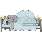 Clipart Illustration of a Tired Elephant Snoozing Soundly Under A Blanket On A Bed, His Head On A Pillow © djart #34123
