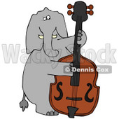 Clipart Illustration of a Musical Elephant Playing A Double Bass © Dennis Cox #34150