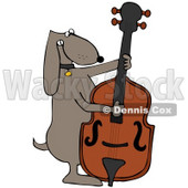 Clipart Illustration of a Musical Brown Dog Playing A Bass Fiddle © Dennis Cox #34151
