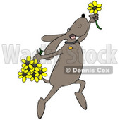 Clipart Illustration of a Happy Dog Leaping With Yellow Spring Flowers © djart #34428