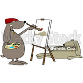 Clipart Illustration of a Beige Dog Modeling For An Artist Dog As He Paints A Portrait © Dennis Cox #34429
