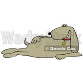 Clipart Illustration of a Cool Beige Dog Modeling And Laying On Its Side © djart #34430