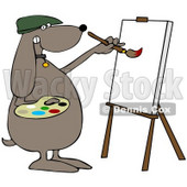 Clipart Illustration of a Brown Dog Artist Painting On A Canvas © djart #34431