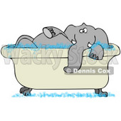 Clipart Illustration of a Tusked Gray Elephant Taking A Bubble Bath In A Tub © Dennis Cox #34432