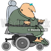 Clipart Illustration of a Geriatric Senior Man In A Green Robe And Slippers, Operating A Power Chair © Dennis Cox #34438