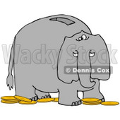 Clipart Illustration of an Elephant Bank With A Slot On The Back And Gold Coins On The Ground © Dennis Cox #34439