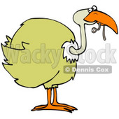 Clipart Illustration of a Yellow Bird Holding A Cute Worm In Its Beak © Dennis Cox #34848