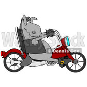 Clipart Illustration of a Cool Donkey Biker Riding A Red Motorcycle © Dennis Cox #34849