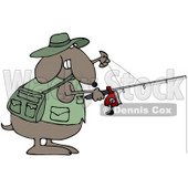Clipart Illustration of a Sporty Brown Dog In A Vest, Holding A Fishing Pole © djart #35558