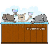 Clipart Illustration of Three Relaxed Dogs Drinking Champagne And Soaking In A Steamy Hot Tub © Dennis Cox #35987