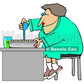 Clipart Illustration of a Female Scientist Sitting On A Stool And Filling Sample Tubes For Scientific Research © djart #36043