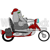 Clipart Illustration of a Cool Elephant Biker Riding A Red Motorcycle © djart #36044