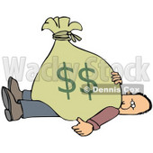 Clipart Illustration of a Man Stuck Under A Heavy Bag Of Money © Dennis Cox #36096