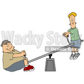 Clipart Illustration of a Confused Thin Boy Up On A Teeter Totter, A Chubby Boy On The Other End © Dennis Cox #36391