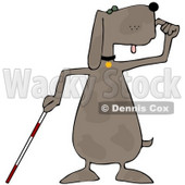 Clipart Illustration of a Blind Dog Using a White Cane © Dennis Cox #36991