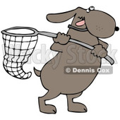 Clipart Illustration of an Ambitious Dog Running With A Net © Dennis Cox #36992