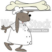Clipart Illustration of a Dog Carrying A Platter Of Oversized Dog Bones © djart #36994