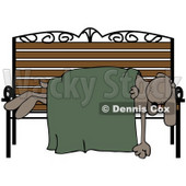 Clipart Illustration of a Homeless Dog Sleeping With A Blanket On A Bench © Dennis Cox #36995