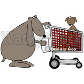 Clipart Illustration of a Dog Reading A Shopping List With Its Pup In A Cart © Dennis Cox #36996