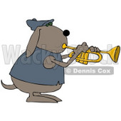 Clipart Illustration of a Musical Dog In A Jacket, Playing A Trumpet © djart #36998