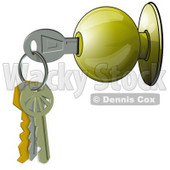 Clipart Illustration of a Key On A Keyring, Inside A Door Knob © djart #36999