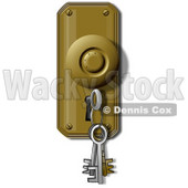 Clipart Illustration of a Skeleton Key On A Ring, Inserted In A Keyhole © djart #37002