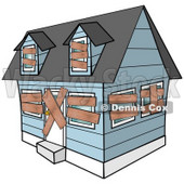 Clipart Illustration of a Blue Foreclosed Home With Boarded Up Windows And Doors © Dennis Cox #37003