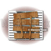 Clipart Illustration of a Boarded Up Window And Shutters Of A Foreclosed Brick Home © djart #37004