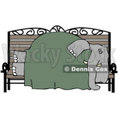Clipart Illustration of a Homeless Elephant Sleeping On A Bench © djart #37007