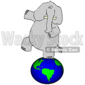 Clipart Illustration of a Gray Elephant Balancing On Earth © Dennis Cox #37009