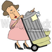 Clipart Illustration of a Woman In Pink, Rolling Trash Out To The Curb © djart #37010