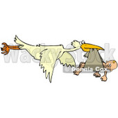 Clipart Illustration of a Baby Hanging Out Of A Cloth In A Storks Beak © Dennis Cox #37011
