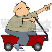 Clipart Illustration of a Man Pointing And Riding On A Red Wagon © Dennis Cox #37012