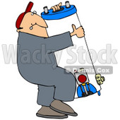 Clipart Illustration of a Man Carrying A Heavy Water Heater © Dennis Cox #37015