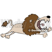 Clipart Illustration of a Pissed Lion Leaping © djart #37016