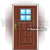 Clipart Illustration of a Wooden Door With Windows In A Brick Home © Dennis Cox #37236