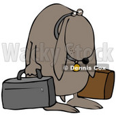 Clipart Illustration of a Sad Dog Sulking And Carrying Two Bags After Being Kicked Out Of His Home © Dennis Cox #37237