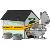 Clipart Illustration of a Confused Gray Dog Standing Outside His Foreclosed House © djart #37238