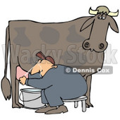 Clipart Illustration of a Man Sitting On A Bench And Getting Squirt In The Face While Milking A Cow © Dennis Cox #37239
