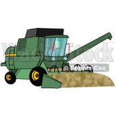 Clipart Illustration of a Male Farmer Operating A Green Harvester On His Farm © Dennis Cox #37240