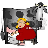 Clipart Illustration of a Blond Woman Sitting On A Bench And Getting Squirt In The Face While Milking A Black Cow © Dennis Cox #37241