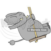 Clipart Illustration of a Playful Elephant Swinging © Dennis Cox #38903