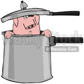 Clipart Illustration of a Curious Pig Peeking Out Of A Pot © Dennis Cox #38904