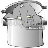 Clipart Illustration of a Curious Elephant Peeking Out Of A Pot © djart #38905