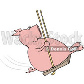 Clipart Illustration of a Playful Pig Swinging © Dennis Cox #38906