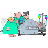 Clipart Illustration of a Nurse And Doctor Pig Attending To A Patient In A Hospital © Dennis Cox #38907