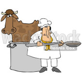 Clipart Illustration of a Chef Cooking A Cow In A Pot © Dennis Cox #38908